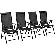 Skládací zahradní židle 4 ks hliník a textilen černé 41731 - Zahradní židle