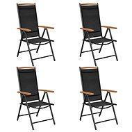 Skládací zahradní židle 4 ks hliník a textilen černé 41733 - Zahradní židle
