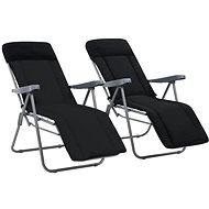 Folding garden chairs with cushions 2 pcs black 44319 - Garden Chair