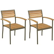 Stohovatelné zahradní židle 2 ks masivní akácie a ocel 44236 - Zahradní židle