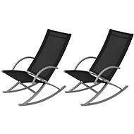 Garden rocking chairs steel and textile black 42163 - Garden Chair