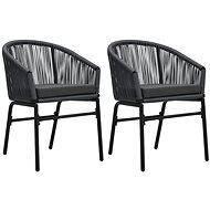 Zahradní židle 2 ks antracitové PVC ratan   48137 - Zahradní židle
