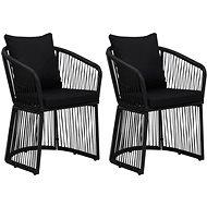 Zahradní židle 2 ks s poduškami a polštáři PVC ratan černé 48586 - Zahradní židle