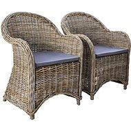 Zahradní židle 2 ks s poduškami přírodní ratan 246810 - Zahradní židle