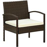 Zahradní židle s poduškou polyratan hnědá 45794