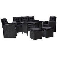 6-piece garden sofa with cushions polyratt black 46094 46094 - Garden Furniture
