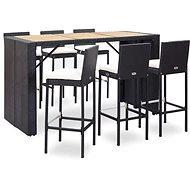 7dílný zahradní barový set s poduškami polyratan černý 49562 49562 - Zahradní nábytek