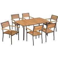 7dílný zahradní jídelní set masivní akáciové dřevo a ocel 44231 44231 - Zahradní nábytek