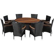 9dílný zahradní jídelní set polyratan a akáciové dřevo černý 43947 43947 - Zahradní nábytek