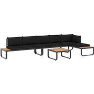 4dílná zahradní rohová sedací souprava s poduškami hliník a WPC 48653 48653 - Zahradní nábytek