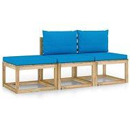 3dílná zahradní sedací souprava se světle modrými poduškami  3065056 - Zahradní nábytek
