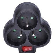 Solight Rozbočovací adaptér s vypínačem 3 x 10A/230V černý