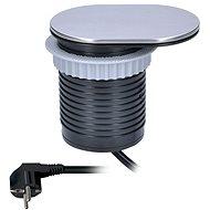 Solight Vestavná zásuvka s USB a s posuvným víčkem stříbrná