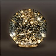 LED skleněná vánoční koule, 20LED, měděná struktura, 2x AA, IP20  - Vánoční osvětlení