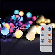LED 2v1 venkovní vánoční řetěz, koule, dálkový ovladač, 200LED, RGB+bílá, 20m+5m, 8 funkcí, IP44