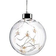 LED vánoční koule skleněná, 10LED, 2x AA, IP20