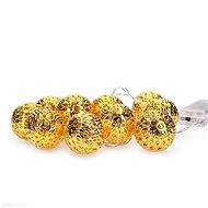 LED řetěz vánoční koule zlaté, 10LED řetěz, 1m, 2x AA, IP20