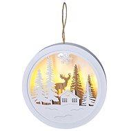 LED dekorace závěsná, les a jelen, bílá a hnědá, 2x AAA