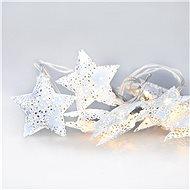 LED řetěz vánoční hvězdy, kovové, bílé, 10LED, 1m, 2x AA, IP20
