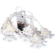 LED řetěz vánoční stromky, kovové, bílé, 10LED, 1m, 2x AA, IP20