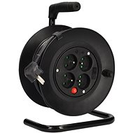 Solight Extension Cord on Reel, 4 Sockets, 15m, Black Cable, 3x 1,0mm²