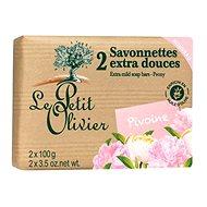 LE PETIT OLIVIER Extra Mild Soap Bars - Peony 2× 100 g - Tuhé mýdlo