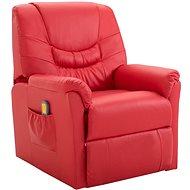 SHUMEE Polohovatelné masážní křeslo červené umělá kůže 248985 - Masážní křeslo