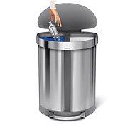 Simplehuman pedálový odpadkový koš na tříděný odpad, 55L, půlkulatý, kartáčovaná nerez ocel - Odpadkový koš