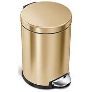 Simplehuman pedálový 4,5L, Mosaz Gold nerez ocel, kulatý, FPP povrch odolný proti otiskům - Odpadkový koš
