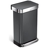 Simplehuman pedálový 45L, černá nerez ocel, obdélníkový,  FPP povrch odolný proti otiskům - Odpadkový koš
