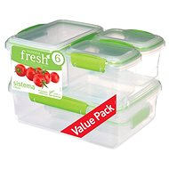 SISTEMA Fresh 6 Pack 1760 Green (2 x 200ml, 2 x 400ml, 1 x 1, 1 x 2l) - Food Container Set