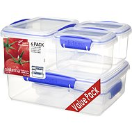 SISTEMA Klip It 6 Clear Food Containers with Blue Clip (2 x 200ml, 2 x 400ml, 1x1l, 1x2l) - Food Container Set