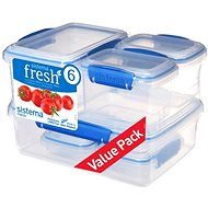 SISTEMA KLIP IT 6 Food Storage Containers, Blue Clips, (2 x 200ml, 2 x 400ml, 1 x 1l, 1 x 2l) - Food Container Set