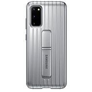 Samsung  Tvrzený ochranný zadní kryt se stojánkem pro Galaxy S20 stříbrný