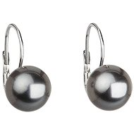 EVOLUTION GROUP Šedá náušnice perla dekorovaná krystaly Swarovski 31143.3 (925/1000, 2,7 g) - Náušnice