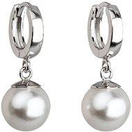 EVOLUTION GROUP Bílá náušnice perla dekorovaná krystaly Swarovski 31151.1 (925/1000, 4 g) - Náušnice