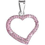 EVOLUTION GROUP Rose přívěsek srdce dekorovaný krystaly Swarovski 34093.3 (925/1000; 0,8 g) - Přívěsek
