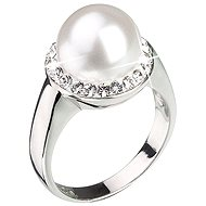EVOLUTION GROUP Prsten dekorovaný krystaly Swarovski Bílá perla 35021.1 (925/1000; 5,7 g) vel. 56 - Prsten