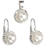 White Pearl Set Decorated Swarovski Crystals (925/1000; 4.1g)