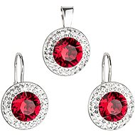Ruby Rivole Set Decorated with Swarovski Crystals (925/1000, 4.3g)