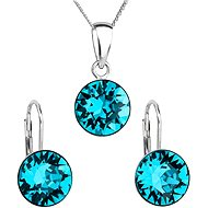 EVOLUTION GROUP Blue zircon souprava dekorovaná krystaly Swarovski 39140.3 (925/1000; 2,6 g) - Dárková sada šperků