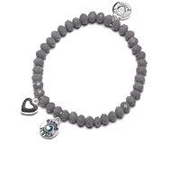 Proud MaMa Charm šedý s modrým kamínkem - Náramek