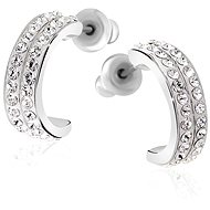 JSB Bijoux Creole with Swarovski® Crystal Stones (Semicircles, White) - Earrings