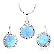 JSB Bijoux Silver set Dark blue opals with Swarovski® crystal stones - Jewellery Gift Set