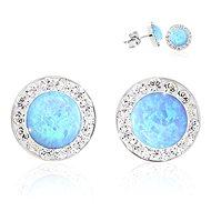 JSB Bijoux Opálky s obtahem Blue zdobené křišťálovými kameny Swarovski® (Ag925/1000; 1,44 g, kulaté, - Náušnice