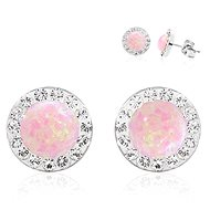 JSB Bijoux Rosa Opals Decorated with Swarovski® Crystal Stones (925/1000; 1.44g, Round, R - Earrings