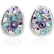 JSB Bijoux Silver Earrings Kreole Purple Decorated with Swarovski® Crystal Stones (925/1000; 3g, Mix of Colours, Drop) - Earrings
