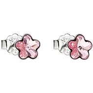 EVOLUTION GROUP 31080.3 Stud Flowers Decorated with Swarovski® Crystals (925/1000, 0.8g, Light Pink - Earrings