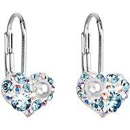 Náušnice EVOLUTION GROUP 31125.9 visací srdce dekorované krystaly Swarovski® (Ag925/1000, 1 g, modré)