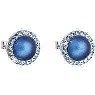 EVOLUTION GROUP 31214.3 tmavě modrá náušnice dekorované krystaly a perlou Swarovski® (925/1000, 1 g)